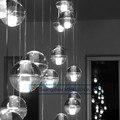 Restaurante criativo iluminação lâmpadas led chuva de meteoros lustre bola de cristal lâmpada escada moderna barra de luz