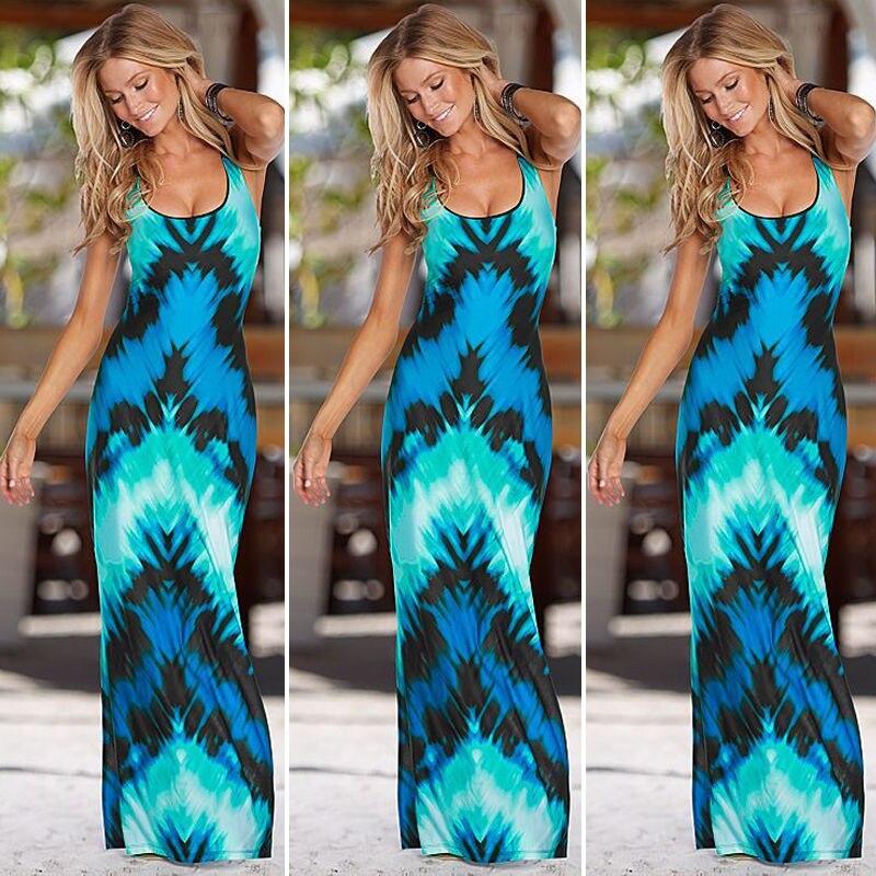 02daae64c8e0a Women Celeb Sexy Boho Long Maxi Dress Sleeveless Sexy Ladies Summer Beach  Dark Blue Party Sun Dress Women Clothing