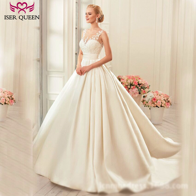 Elegant Embroidery Embellishment Ball Gown Traditional: Aliexpress.com : Buy Backless Sheer Neck Elegant Satin