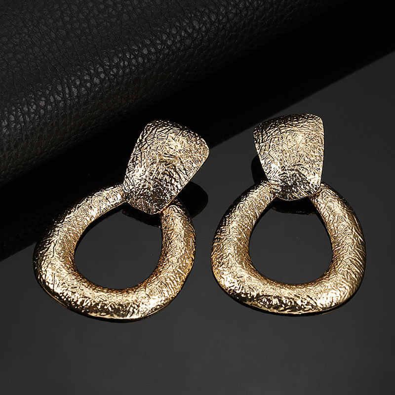 Geometryczne kropla wody kreatywny Retro matowe metalowe metalowe kolczyki dla kobiet złoty/srebrny przesadzone spadek kolczyk Party biżuteria