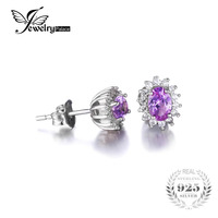 2 5ct Alexandrite Sapphire Stud Earrings Luxury Princess Diana William Engagement Wedding Set Solid 925 Sterling