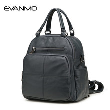 Casual Backpack Women 100% Genuine Leather Soft Casual Women's Backpacks Brief Casual Daily Big Bag Ladies Pocket Girl Schoolbag(China)