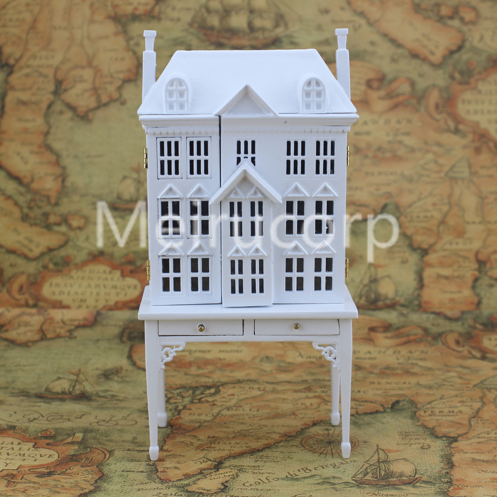 Miniatures White DollHouse 1:12 Scale House shape display cabinet 12166 1 12 dollhouse miniatures furniture re ment refrigerator hearth integral kitchen lampblack machine