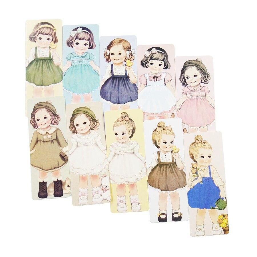 30 Pcs lot Indah Gadis Yang Berbeda Dengan Rambut Keriting Penanda Buku Kertas Kartu Bookmark Antik Kartu Pos di Kartu & Undangan dari Rumah & Taman