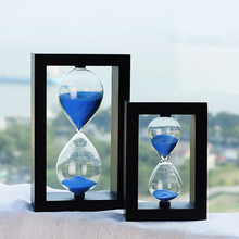 45/60 minute wooden box hourglass, glass craft creative timer