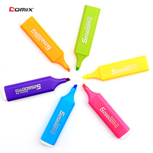 6pcs/set Comix High capacity Highlighter Fluorescent Pen Marker Pens Mild Liner Cute Kawaii Stationery School Supplies Papelaria