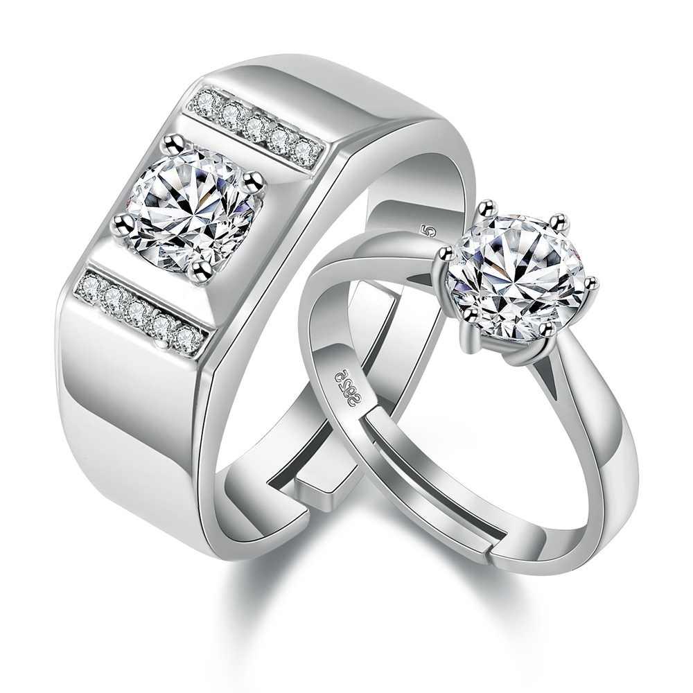 2 Pcs טבעת זירקון טבעת זוג Vashiria אופנה מצופה זהב 925 תכשיטי רומנטי קיסרי כתר & צלב מאהב טבעת