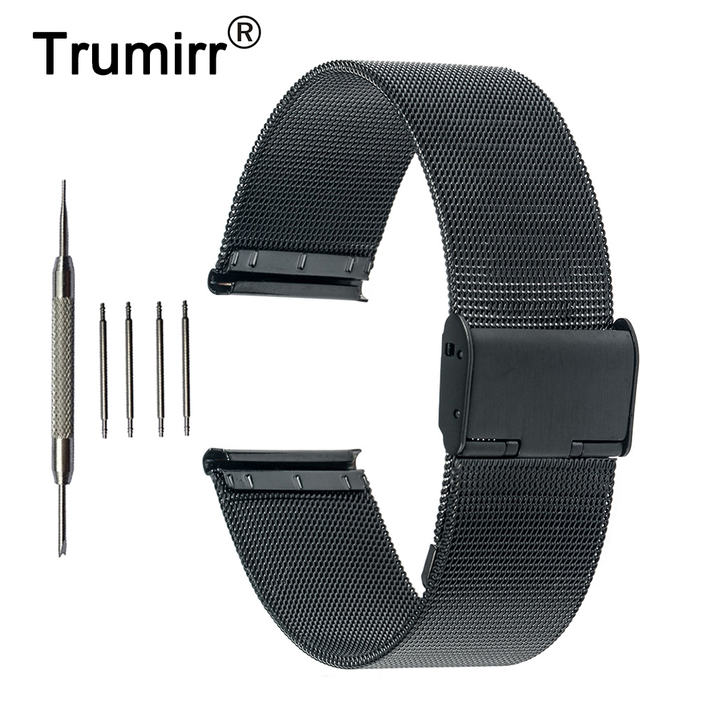 Milanese Stainless Steel Watch Band 22mm for Vector Luna / Meridian, for Xiaomi Smartwatch Huami Amazfit Strap Wrist Bracelet 22mm milanese watchband for vector luna meridian smart watch band mesh stainless steel strap wrist bracelet tool spring bars