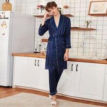2019 Spring Summer Satin Robe Men Pajamas Set Home Wear Silk