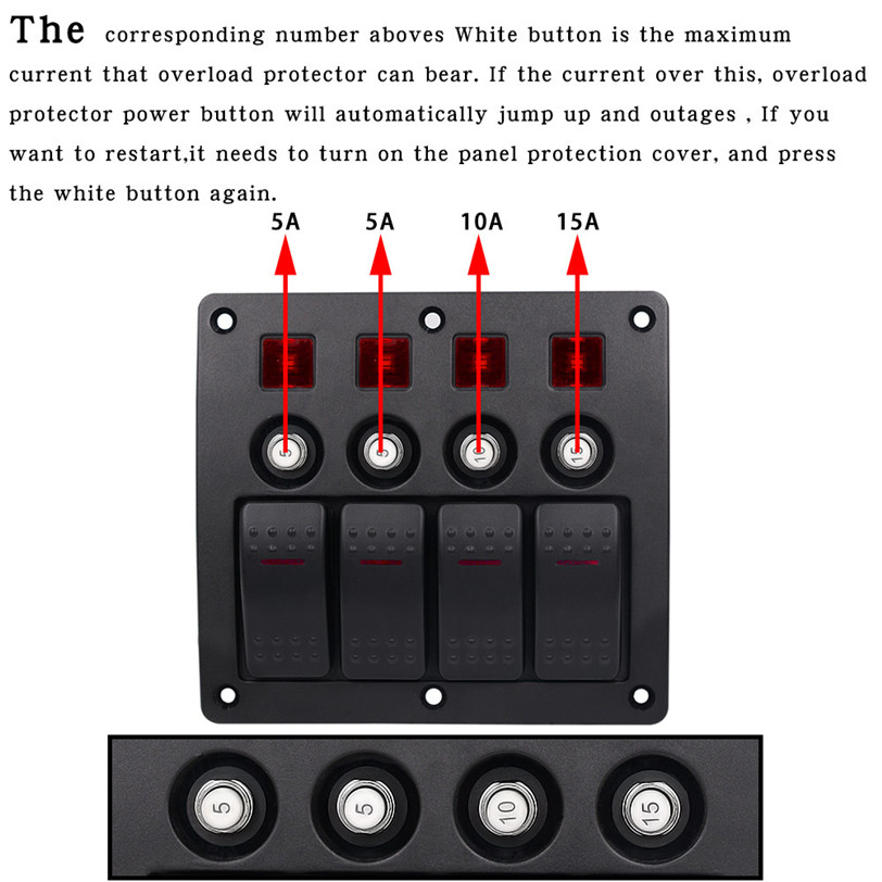 2017 Waterproof Car Auto Boat Marine LED Rocker Switch Panel Circuit Breakers Motorcycle Accessories Car-styling