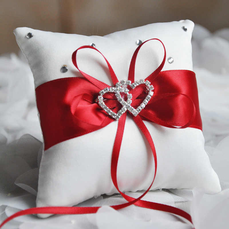 Ribbon Bowknot Rhinestones European Wedding Decor Satin Cushion Wedding Party Supplies Double Heart Handmade Ring Pillow