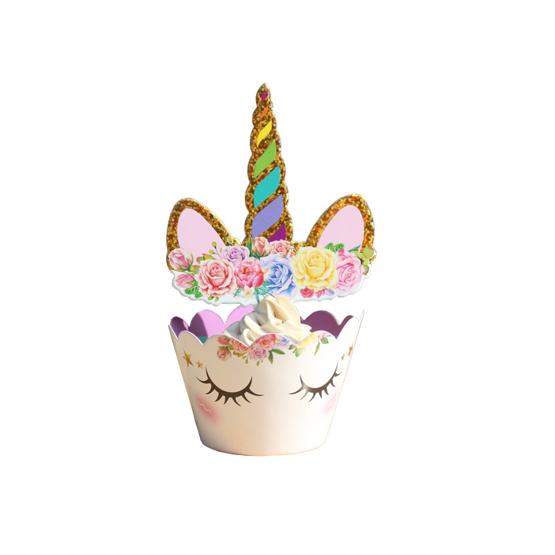 Unicorn Cake Decorations Kit For Sheet Topper Handmade Horn Ears And Flowers Set Kids Birthday Toys In Kitchen From