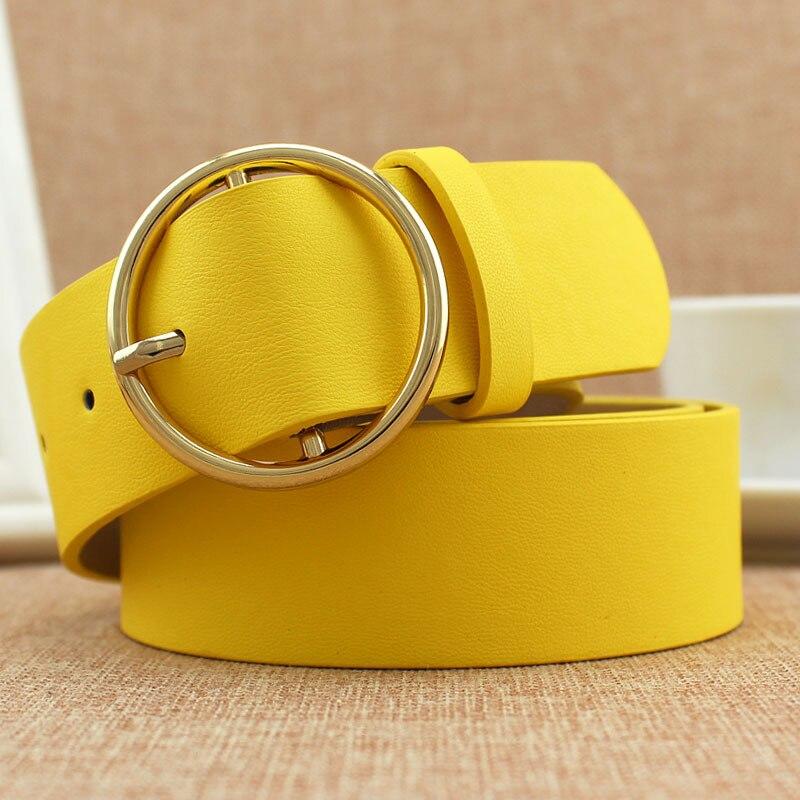 Модный классический круглый ремень с пряжкой, Женский широкий ремень, дизайн, высокое качество, Женские повседневные кожаные ремни для джинсов kemer - Цвет: Yellow