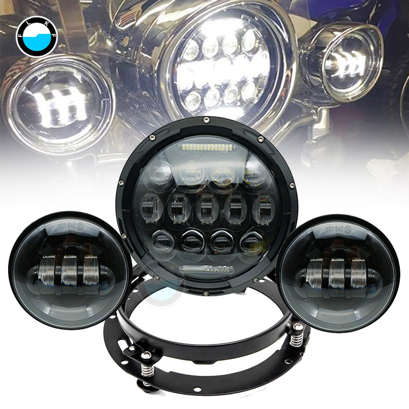 7 inch LED headlight motorbike suit 7Headlight+Monting Ring+Fog Lights For Harley Davidson Electra Glide Road King Street Glide 7 inch led headlight motorbike suit 7headlight monting ring fog lights for harley davidson electra glide road king street glide