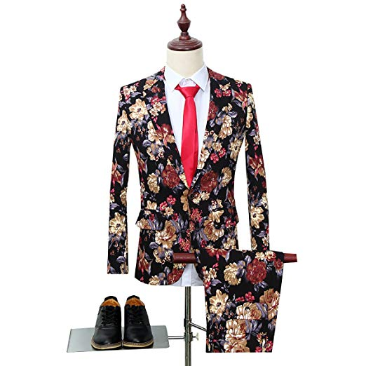 Costume Homme Mens  Suit Notched Lapel Sport Coat Floral One Button Slim Fit Tweed Prom Suit Groom Tuxedo 2PCS Terno Masculino