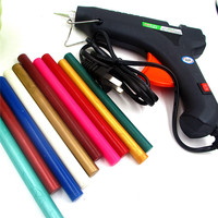 60W Hot Melt Glue Gun 10pcs Sealing Wax Stick Bar 100 240V Electric Heat Temperature Tool