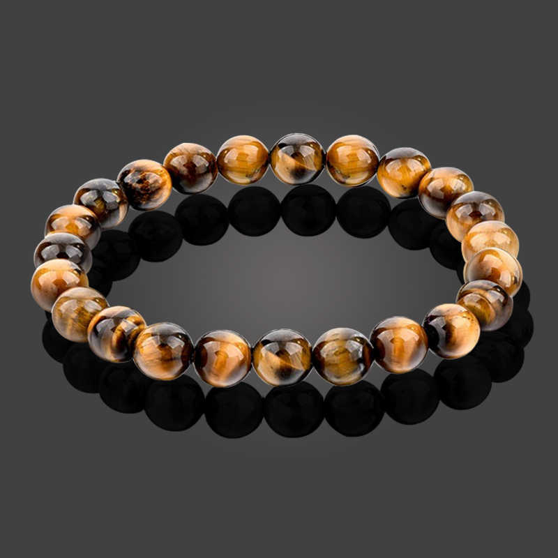 Classic Solid Color Series Natural Stone Beaded Bracelets Tiger Eyes Stone Men Women Charm Chakra Bangles Handmade Jewelry Gifts