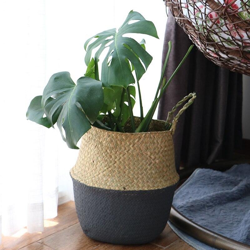 Straw Storage Basket Seagrass Plant Flower Pot Folding Woven Baskets Flower Vase Hanging Half