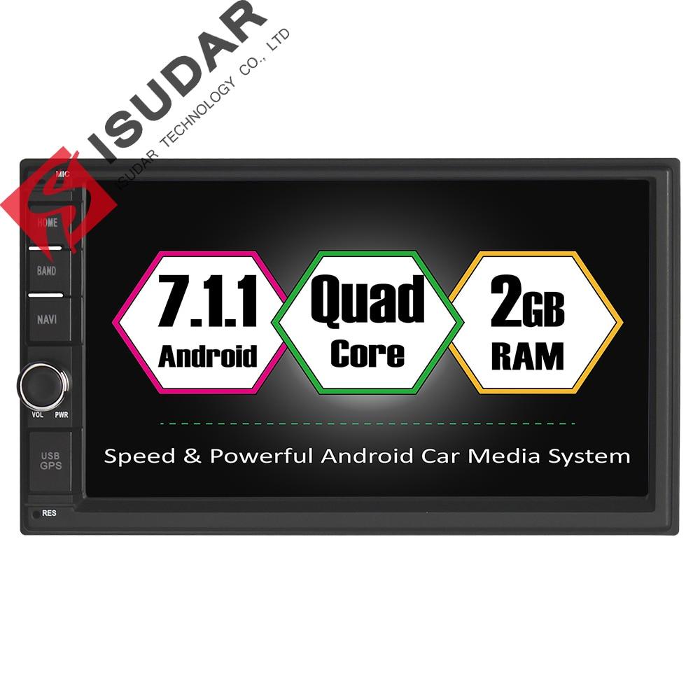 Isudar Universal Car Multimedia Player Car Radio GPS Android 7.1.1 2 Din For Nissan 2GB RAM 16GB ROM Microphone OBD2 USB DVR