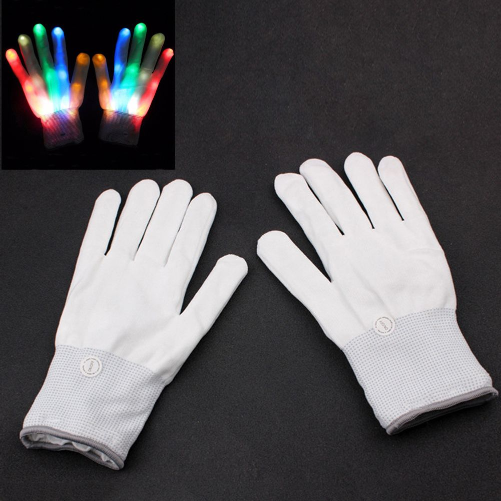 1 Pair LED Luminous Gloves Awesome Bar Party Fluorescent Dance DJ Magic Gloves LED Light Glow Atmosphere Activing Props Colorf