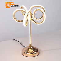 brief style LED table lamps modern desk light Dia27*H40cm gold reading room bedside lamp