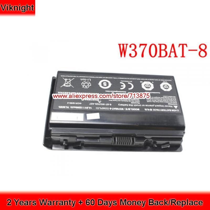 Genuine W370BAT-8 laptop battery for Clevo K590S K650C K750S K660E W350ST 6-87-W37SS-427 original rechargeable clevo w370bat 8 li ion battery 6 87 w370s 4271 6 87 w37ss 427 k590s laptop battery 14 8v 5200mah 76 96wh