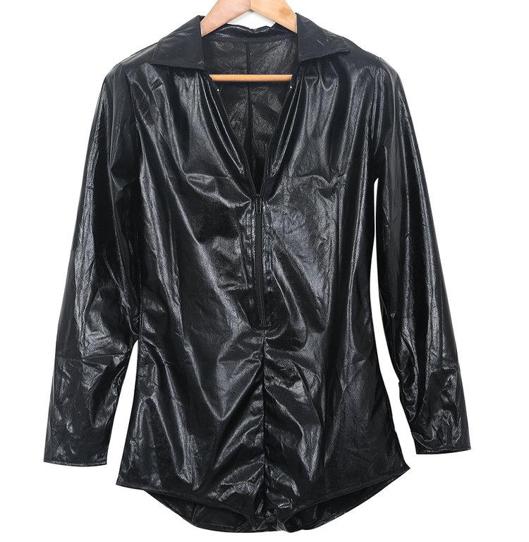 Пикантные женские с длинным рукавом комбинезон Вечер Клубная одежда Одежда для танцев черный комбинезон