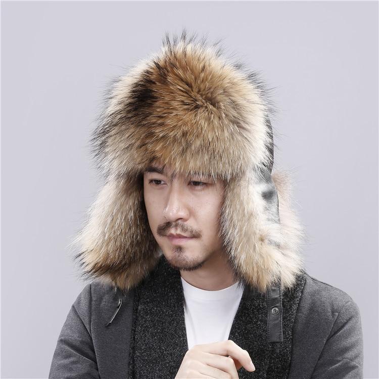 Fox Hats winter thickening Keep warm Ear guard Fur winter Mens money Locomotive Raccoon hair Lei Feng Bomb cap hat