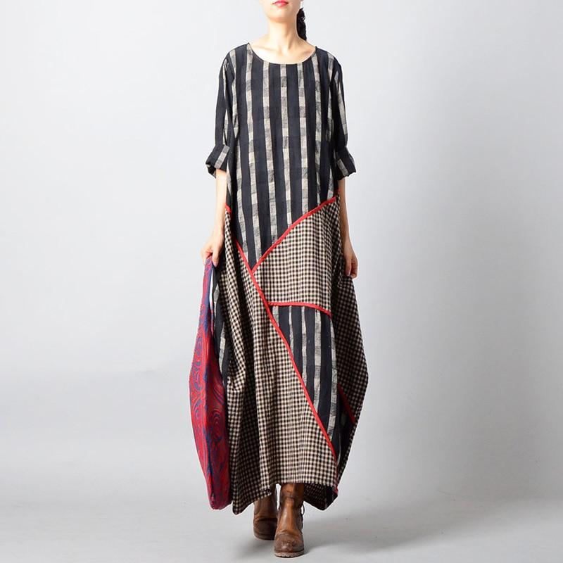 Johnature Patchwork Robe O cou Robes Coton Vintage Femmes 2018 Lâche Manches Noir Longues Rayé À Automne Nouvelle Lin nON08vwym