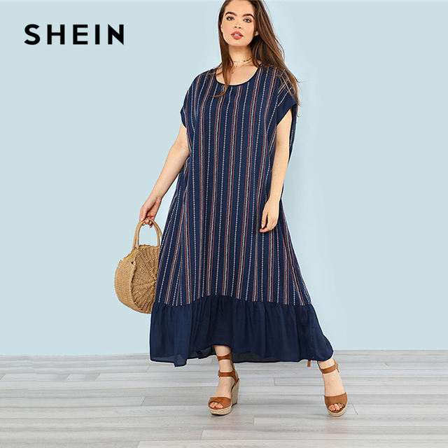 Shein Plus Sizes Navy Ruffle Hem Striped Maxi Dress Casual Scoop