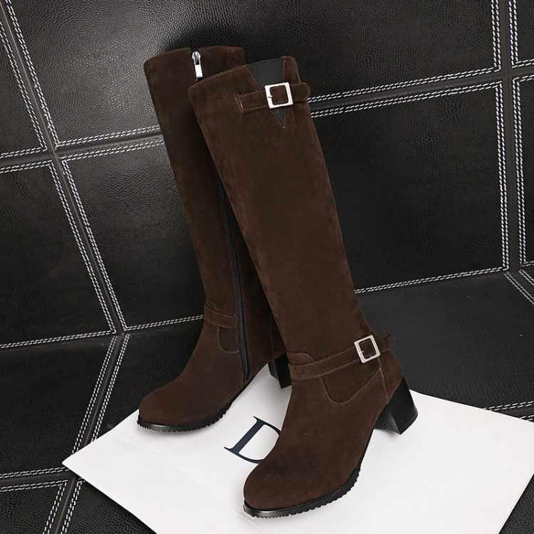 Große Größe 9 10 11 12 oberschenkel hohe stiefel kniehohe stiefel über das knie stiefel frauen damen stiefel Seite zipper mit gürtel schnalle