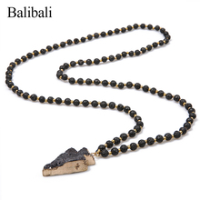 Buy arrowhead pendant and get free shipping on aliexpress balibali classic arrowhead pendants necklace maxi black lava stone beaded necklaces chained collier men meditation bijoux aloadofball Image collections