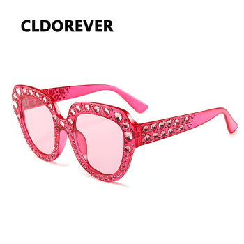 Fashion 2018 Oversized Sunglasses Women Brand Luxury Heart Rhinestone Sun Glasses For Woman Vintage Big Goggles Shades Gafas
