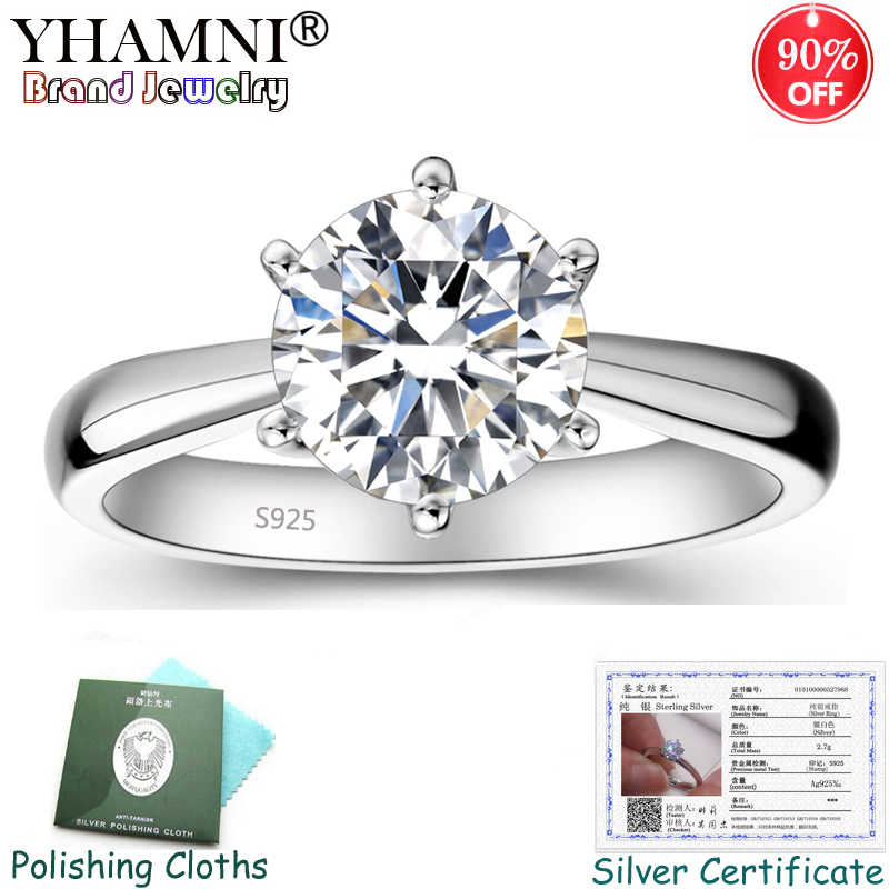 Free Sent Certificate! 100% Original Solid 925 Silver Wedding Ring Luxury Solitaire 1 Carat CZ Diamant Rings for Women RZS003