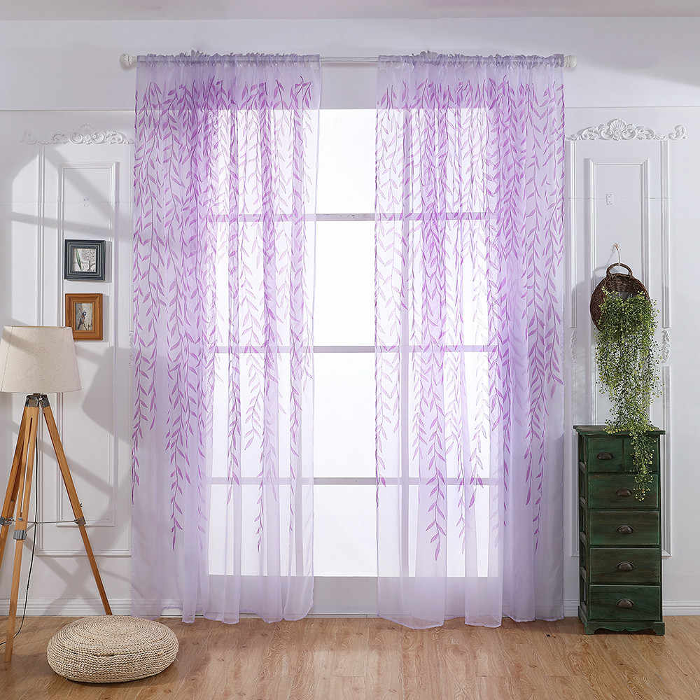 Leaves Sheer Curtain Tulle Window Treatment Voile Drape Valance 1 Panel Fabric Kitchen Sheer Curtain Tulle Room Decoration
