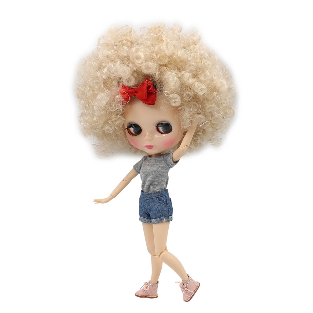 Blyth Joint Body with Champagne Afro Hair Normal Skin 4 Color Eyes 1 6 Nude Doll