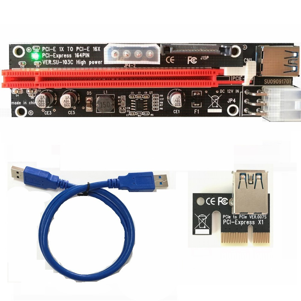 CN, Cable Length: Other Computer Cables PCI-E Express 1X to 16X Extender Riser Adapter Card with Molex 60CM USB Cable Futural Digital Dorp Shipping J10T