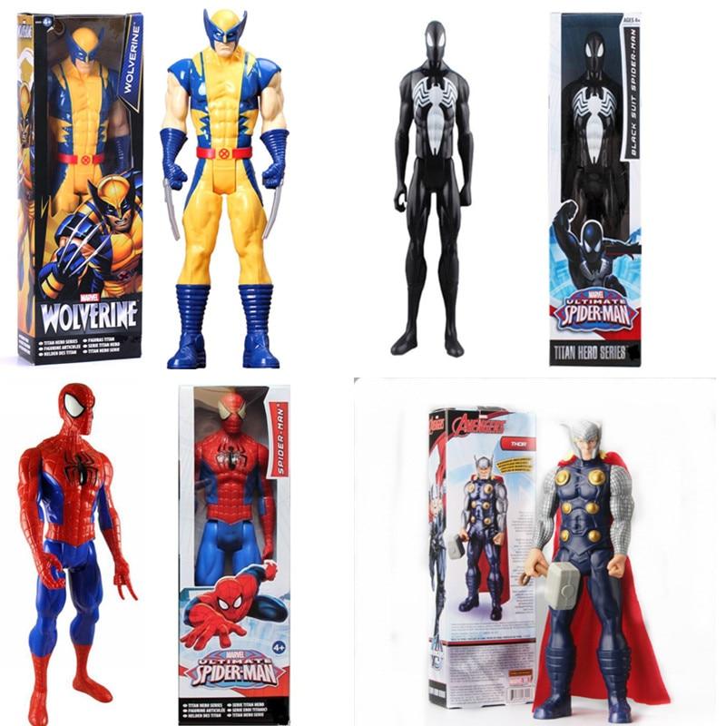 <font><b>Marvel</b></font> <font><b>Legend</b></font> Figure Toy Thor Black Suit Spiderman Wolverine X-men <font><b>Captain</b></font> <font><b>America</b></font> PVC Collectible Titan Hero <font><b>Series</b></font> Gift30cm6''