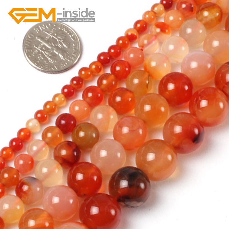 "6MM-16MM Natural Red (Agates) Carnelian Perler Stone Loose Perle For Armbånd Making Strand 15 ""Gem-inside Bulk Fashion DIY!"