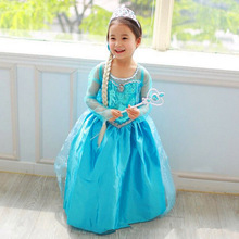 Elsa Dress Princess Girl Dresses Costumes Children Fancy Party Anna Dress Carnival Girls Clothing Halloween цена 2017