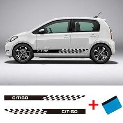 2 piezas CITIGO vinilo coche estilismo lado rayas falda pegatina vehículo Auto calcomanías envuelve los gráficos del cuerpo para Skoda CITIGO