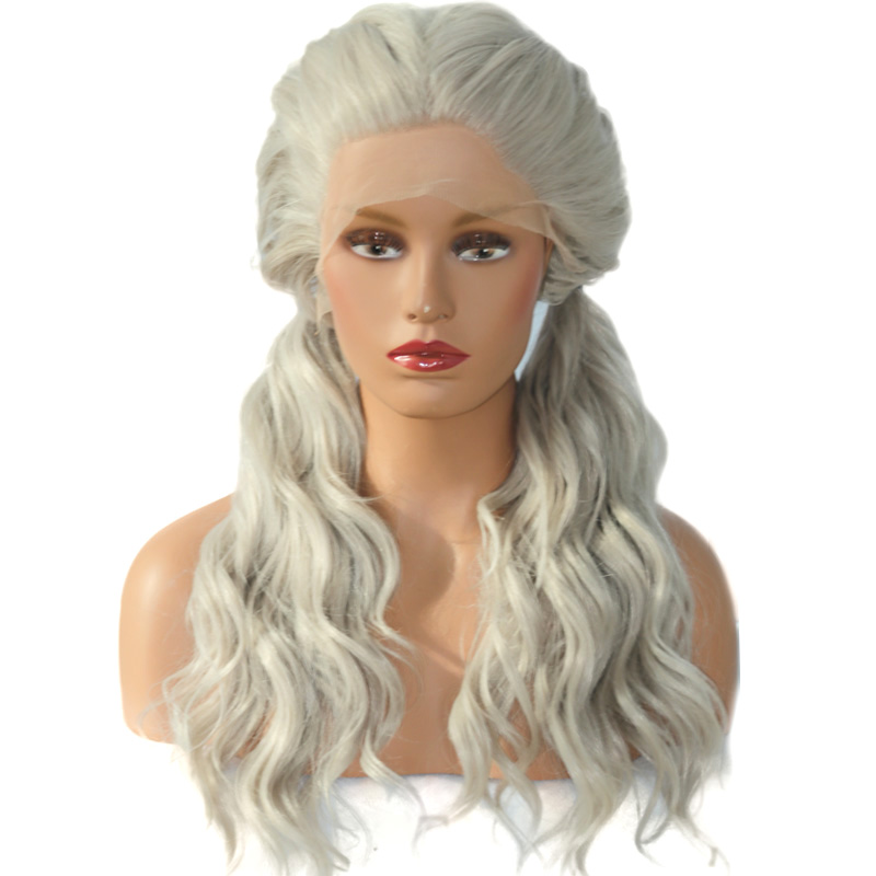 COLODO Double Ponytail Gray Natural Wave Fiber Hair Wig For White Women Heat Resistant Long Artificial Synthetic Lace Front Wigs