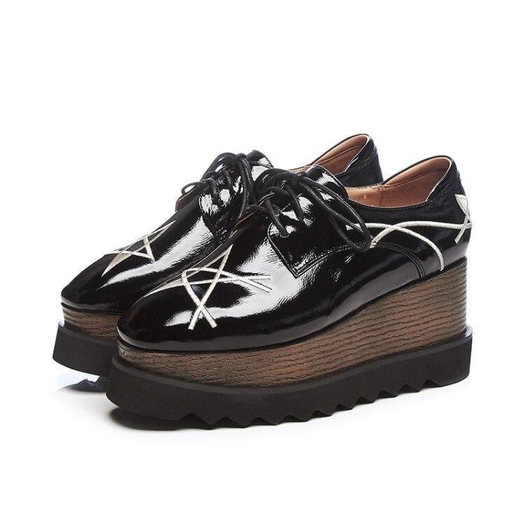Negro vino Zapatos Tacones Moda Casuales Cuñas Plataforma Mujer Creepers De Tinto 2018 Cuero Marca Nueva {zorssar} pzqv6OXX