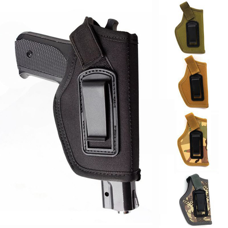 Nylon Tactical Compact Pistol Holster Concealed Belt Metal Clip Holster Gun Carry Waist Pouch Bag Gun Case Hunting Accessories image