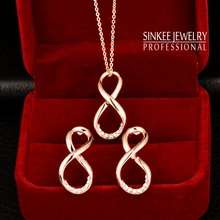 Lovely CZ Diamond Infinity Necklace Earrings Jewelry Set For Women 18K Rose Gold Plated Tz146 Free Shipping Bijoux