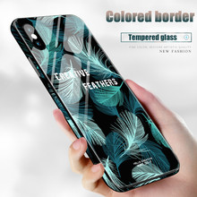 Hot Glass material Anti-falling shock Cover case For iphone 6 6S 7 8 Plus X XR XS Max Color edge feather hard shell phone Cases