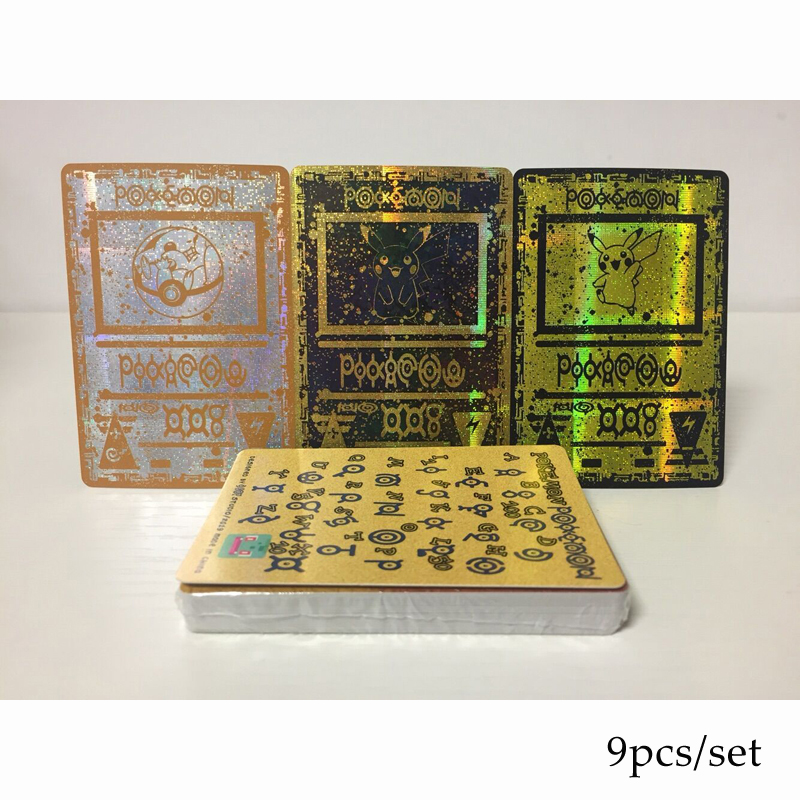 9pcs/set Pokemon Card Unknown Totem Ancient Relics Pikachu Flash Card Collection Gift Kids Pokemon Toys