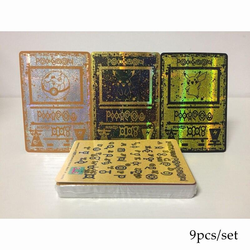 9pcs/set Pokemon Card Unknown Totem Ancient Relics Pikachu Flash Card Collection Gift Kids Pokemon Toys