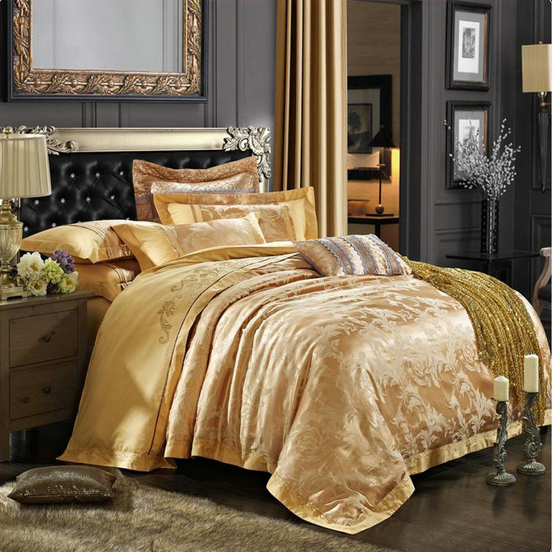 Luxury Gold Embroidery Satin Silk Jacquard Bedding Set