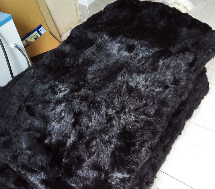 Entertainment Memorabilia Black Rabbit Fur Rugs Dyed Rabbit Fur Blanket Real Rabbit Skin Fur Plate